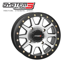 "Load image into Gallery viewer, Can Am Maverick SB-3 Beadlock Wheels by System 3  15"" Wheel with  4x137 w/ 5+2 (+30mm) Offset and 32 x 10R-15 RT320 RACE & TRAIL TIRES - Rad Parts"