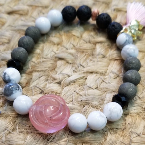 Rose Quartz Elephant Diffuser Bracelet - Sun Kissed Glow