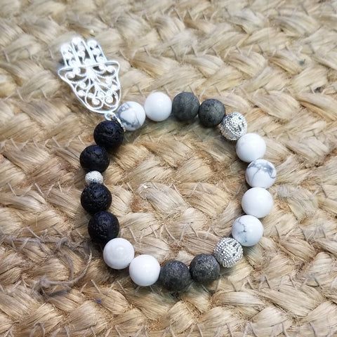 Hand of Fatima Howlite Diffuser Bracelet - Sun Kissed Glow
