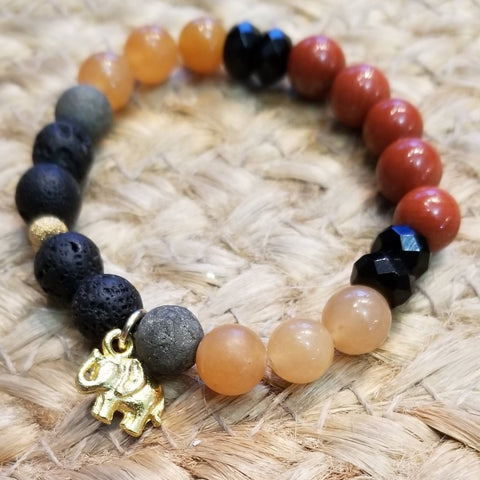 Red Stone Elephant Diffuser Bracelet - Sun Kissed Glow