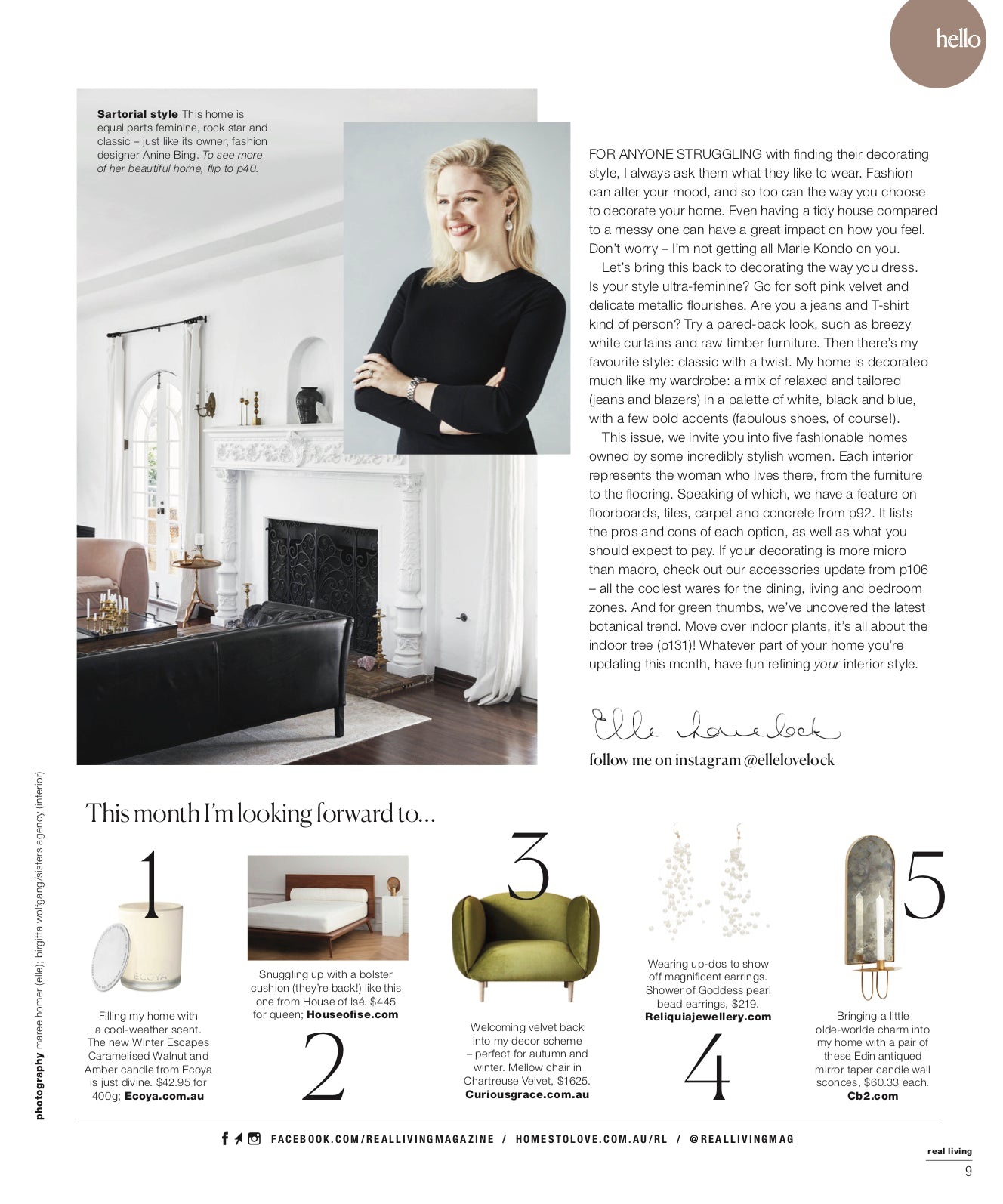 Press - Real Living Magazine - Editor's page - Elle Lovelock - organic linen bolster for the home - House of Ise