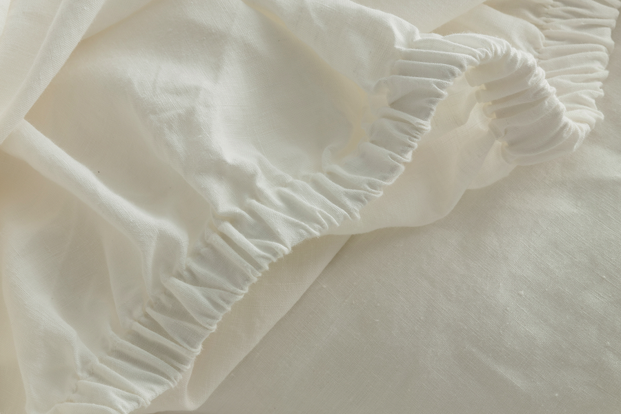 ISE sustainable natural white GOTS organic Belgian linen bed linen fitted sheet with thick elastic casing detail for perfect fit