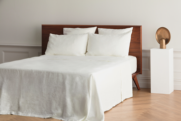 ISE sustainable natural white GOTS organic Belgian linen flat sheet with mitred corners for the home