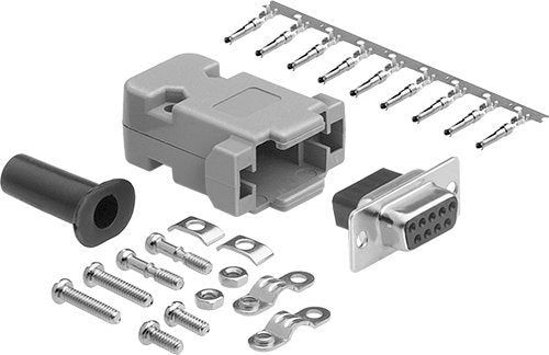 DB9 Connector Kit Set, DB9 Female Crimp Type with PVC Hood + Gold Plated Pro D-Sub Female Pins+ Strain Relief Grommet Connector Kit Set