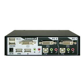 2-Port DVI USB KVM Switch w/ Audio, Mic & Hub