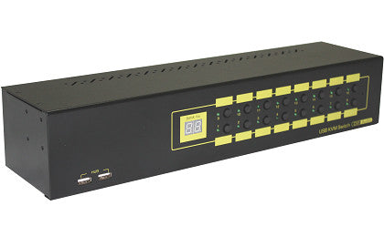 16-Port Rackmountable DVI KVM Switxch w/ Audio, Mic& Hub