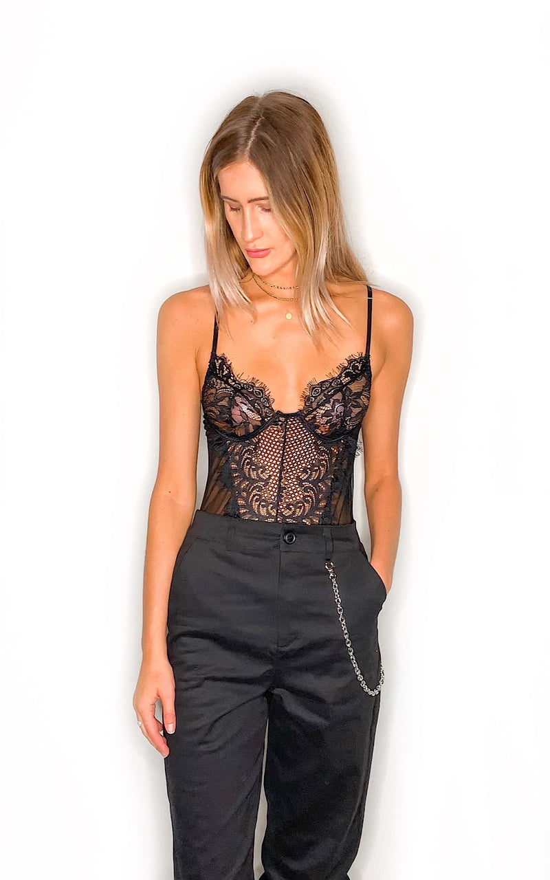 Drip Lace Bodysuit- Black