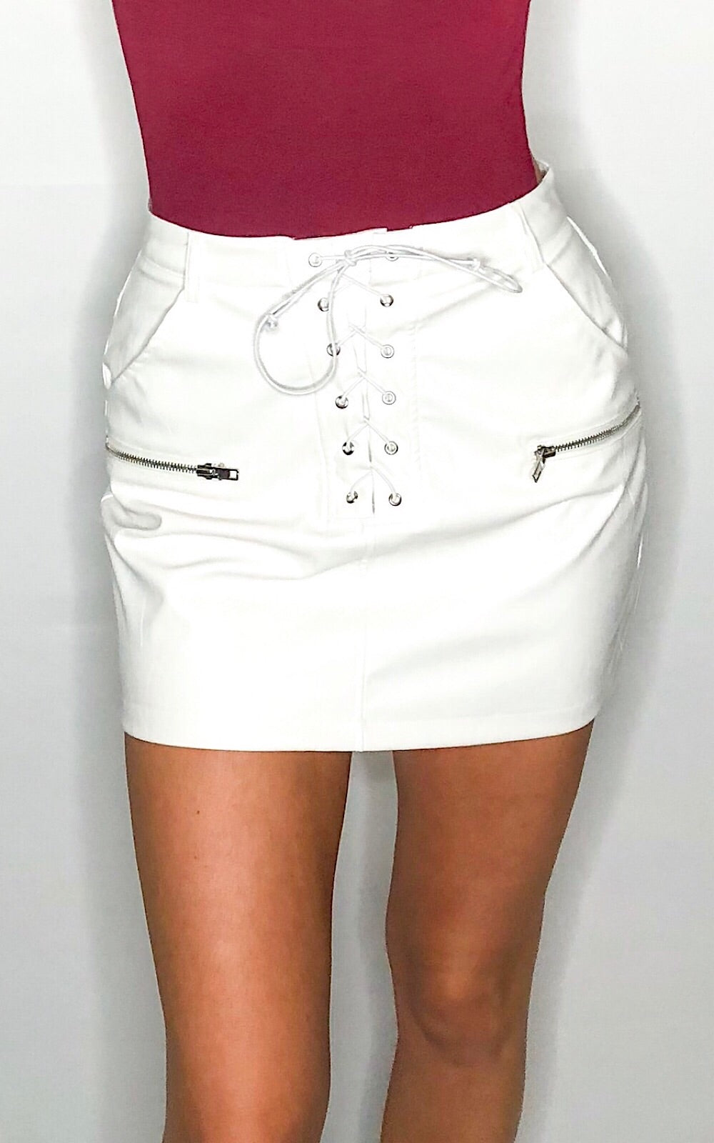 Rocker White Leather Skirt