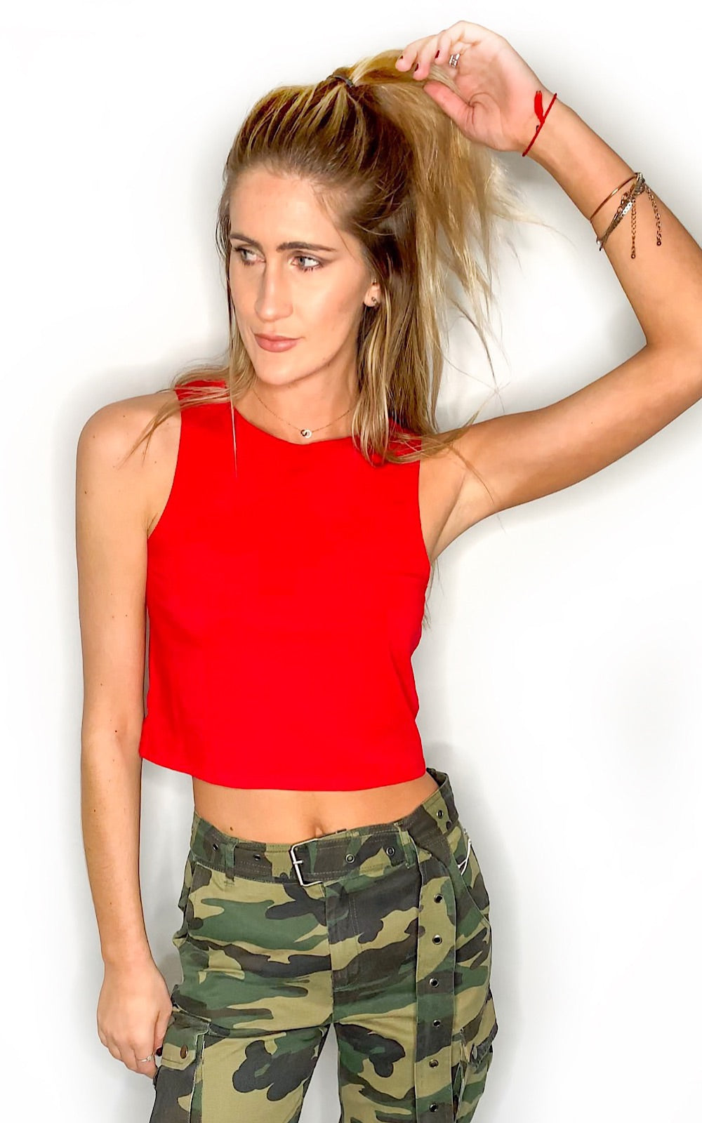 Back To Back Cropped Tank Top- Red