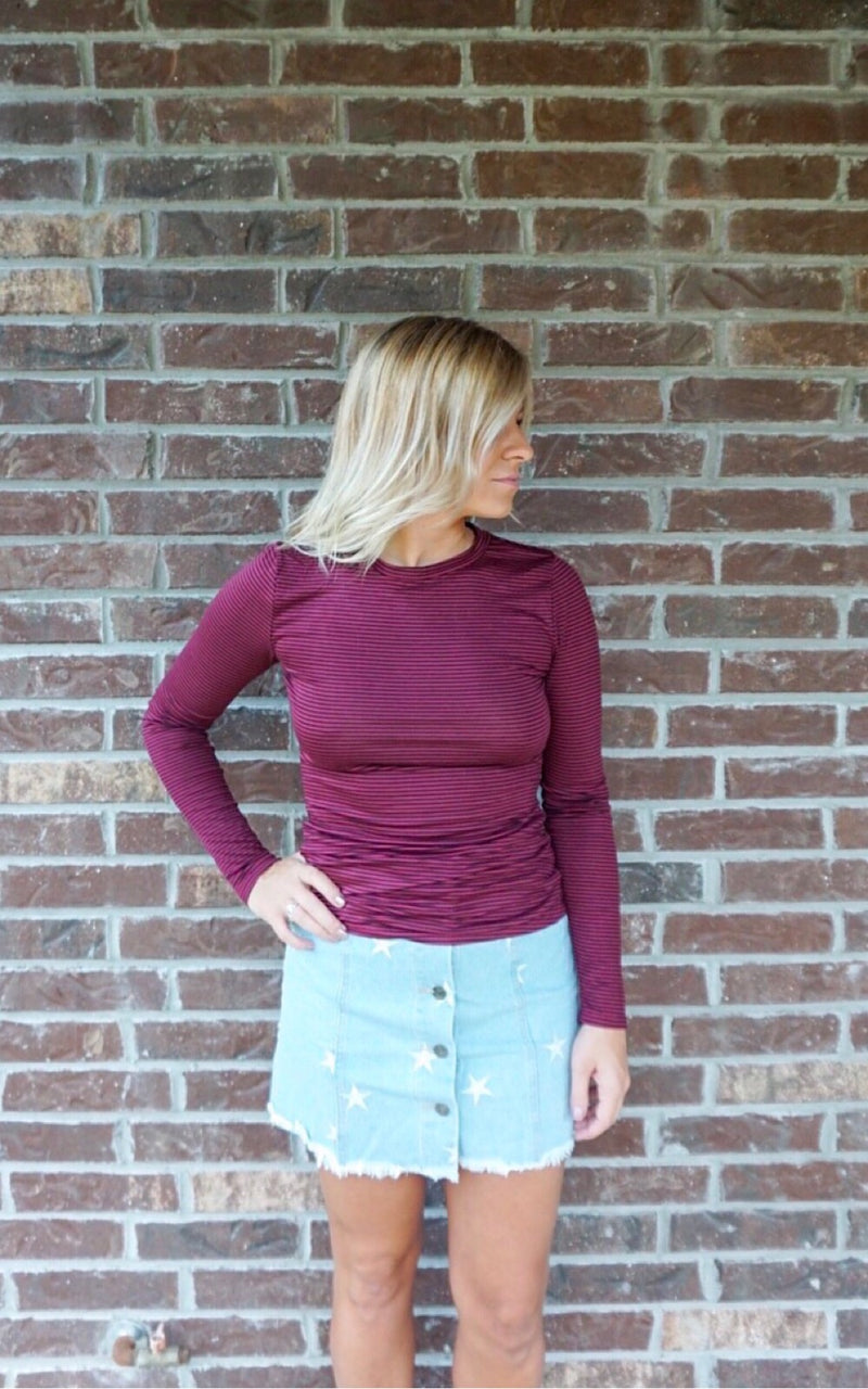 Straight Up Long Sleeve Top- burgundy