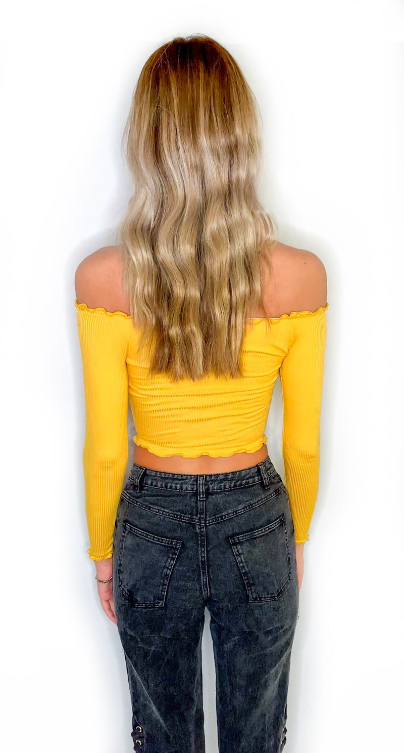 First Off Long Sleeve Crop - Mustard