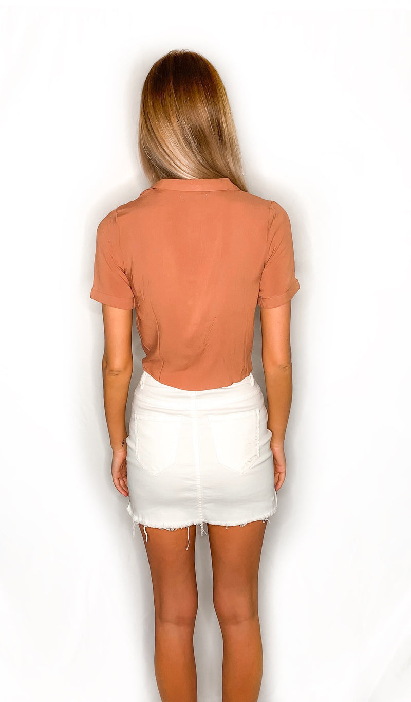 Taylor Crop Top - Peach