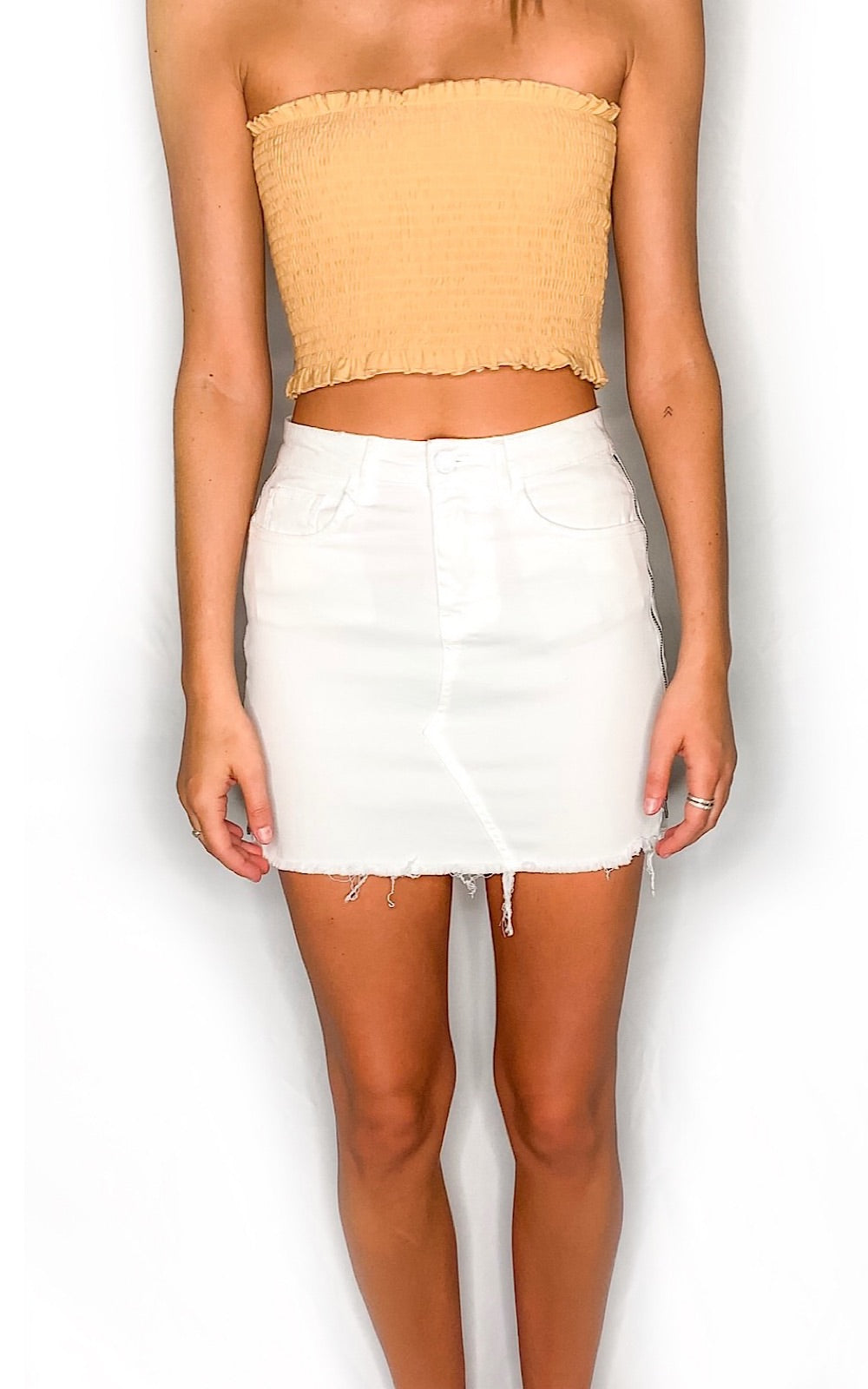 Anne White Denim Skirt