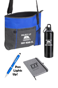 IN STOCK! Swag Bag with Tote, Bottle, Notebook & Light-Up Stylus Pen.