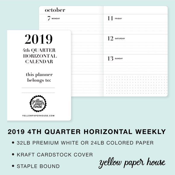 TRAVELERS NOTEBOOK INSERT - 2019 4th QUARTER HORIZONTAL DATED CALENDAR
