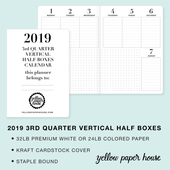 TRAVELERS NOTEBOOK INSERT - 2019 3rd QUARTER VERTICAL HALF-BOX DATED CALENDAR