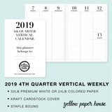 TRAVELERS NOTEBOOK INSERT - 2019 4th QUARTER VERTICAL DATED CALENDAR
