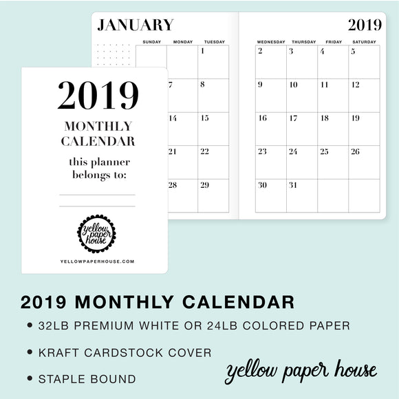 TRAVELERS NOTEBOOK INSERT - 2019 DATED MONTHLY CALENDAR