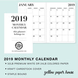 TRAVELERS NOTEBOOK INSERT - A5 SIZE - 2019 DATED CALENDARS