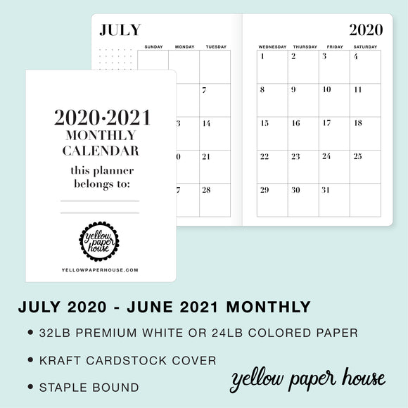 TRAVELERS NOTEBOOK INSERT - 2020-2021 DATED MONTHLY CALENDAR
