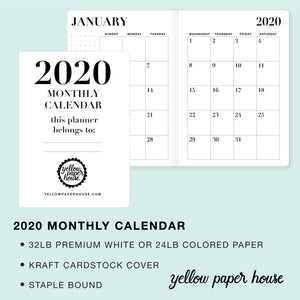 TRAVELERS NOTEBOOK INSERT - 2020 DATED MONTHLY CALENDAR
