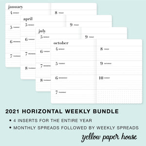 TRAVELERS NOTEBOOK INSERT - 2021 BUNDLE of FOUR QUARTERS - HORIZONTAL DATED CALENDAR