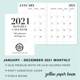 TRAVELERS NOTEBOOK INSERT - 2021 DATED MONTHLY CALENDAR