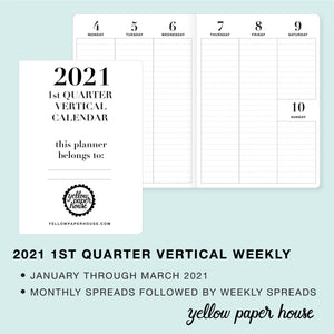 TRAVELERS NOTEBOOK INSERT - 2021 1st QUARTER VERTICAL DATED CALENDAR