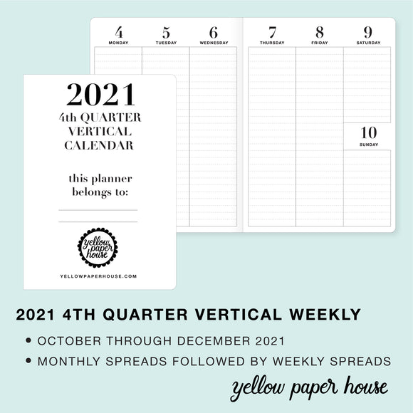 TRAVELERS NOTEBOOK INSERT - 2021 4th QUARTER VERTICAL DATED CALENDAR