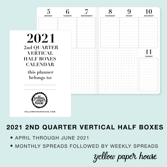TRAVELERS NOTEBOOK INSERT - 2021 2nd QUARTER VERTICAL HALF-BOX DATED CALENDAR