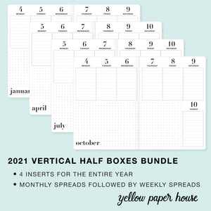 TRAVELERS NOTEBOOK INSERT - 2021 BUNDLE of FOUR QUARTERS - VERTICAL HALF BOXES DATED CALENDAR
