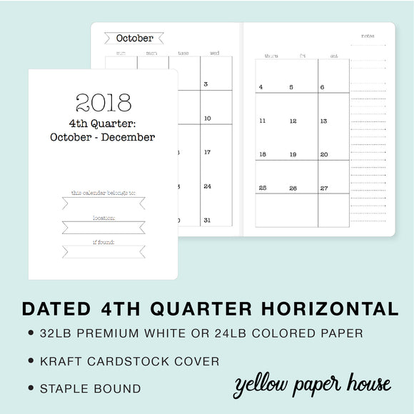 TRAVELERS NOTEBOOK INSERT - DATED 2018 4TH QUARTER HORIZONTAL CALENDAR