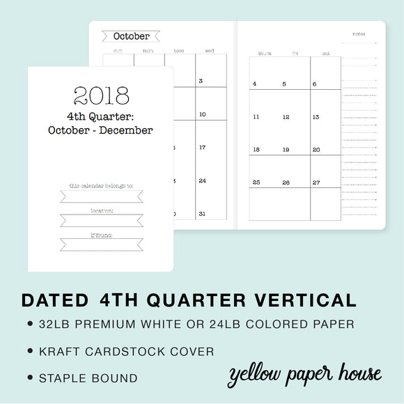 TRAVELERS NOTEBOOK INSERT - DATED 2018 4TH QUARTER VERTICAL CALENDAR