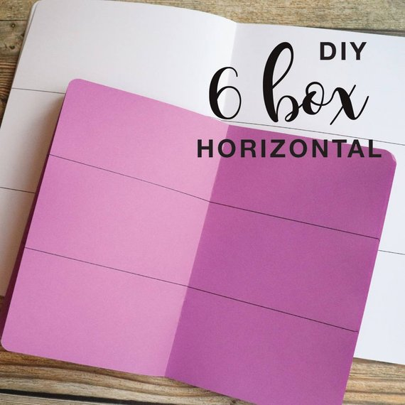 TRAVELERS NOTEBOOK INSERT - 6 BOX HORIZONTAL DIY