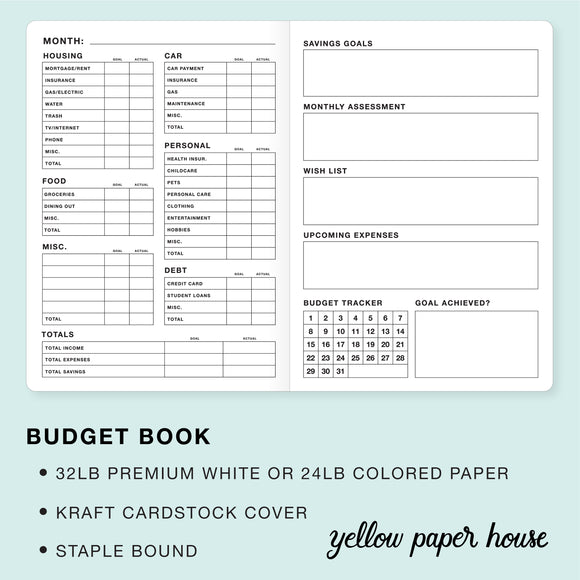 TRAVELERS NOTEBOOK INSERT - BUDGET BOOK
