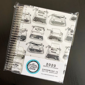 CLEARANCE - 1st Quality - Spiral Mini 2020 Dated Vertical Weekly Planner - Black & White Typewriters (S1)
