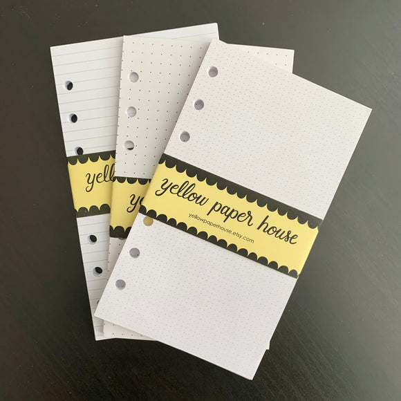 CLEARANCE - 2nd Quality - FILOFAX STYLE PLANNER PAPER - 6 RING - Personal size - White paper (F7)