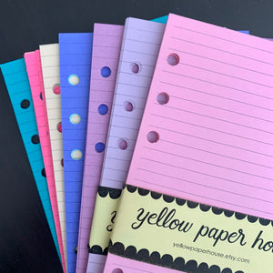 CLEARANCE - 2nd Quality - FILOFAX STYLE PLANNER PAPER - 6 RING - Personal size - Assorted colors -  Lines (F14)