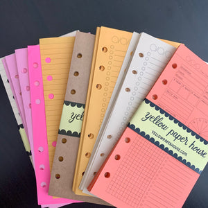 CLEARANCE - 2nd Quality - FILOFAX STYLE PLANNER PAPER - 6 RING - Personal size - Assorted Inserts (F15)