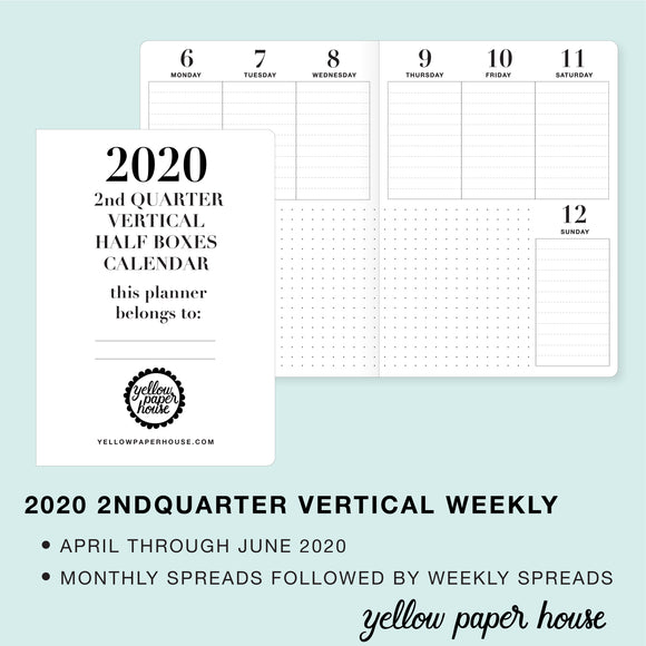 TRAVELERS NOTEBOOK INSERT - 2020 2nd QUARTER VERTICAL HALF-BOX DATED CALENDAR