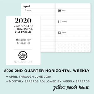 TRAVELERS NOTEBOOK INSERT - 2020 2nd QUARTER HORIZONTAL DATED CALENDAR