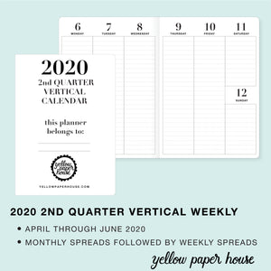 TRAVELERS NOTEBOOK INSERT - 2020 2nd QUARTER VERTICAL DATED CALENDAR