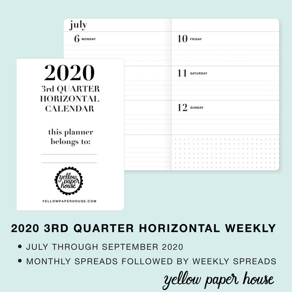 TRAVELERS NOTEBOOK INSERT - 2020 3rd QUARTER HORIZONTAL DATED CALENDAR