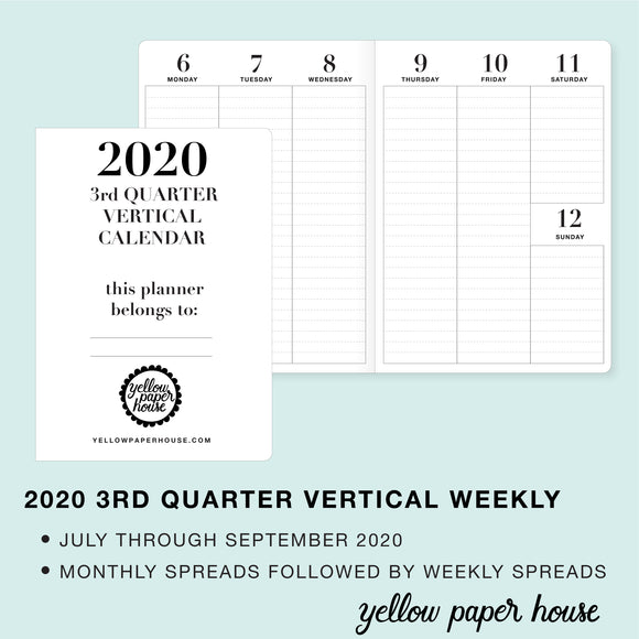 TRAVELERS NOTEBOOK INSERT - 2020 3rd QUARTER VERTICAL DATED CALENDAR