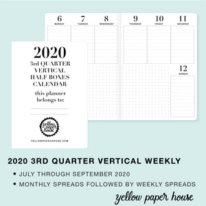 TRAVELERS NOTEBOOK INSERT - 2020 3rd QUARTER VERTICAL HALF-BOX DATED CALENDAR