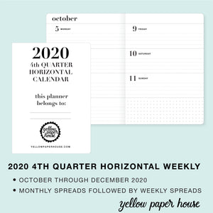 TRAVELERS NOTEBOOK INSERT - 2020 4th QUARTER HORIZONTAL DATED CALENDAR