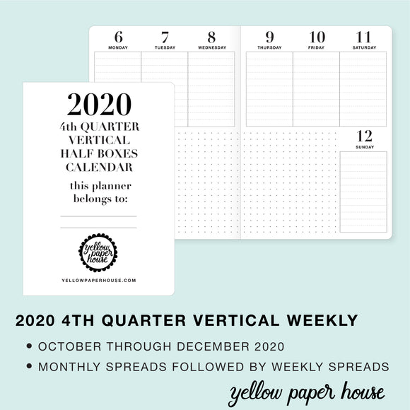 TRAVELERS NOTEBOOK INSERT - 2020 4th QUARTER VERTICAL HALF-BOX DATED CALENDAR