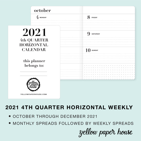 TRAVELERS NOTEBOOK INSERT - 2021 4th QUARTER HORIZONTAL DATED CALENDAR
