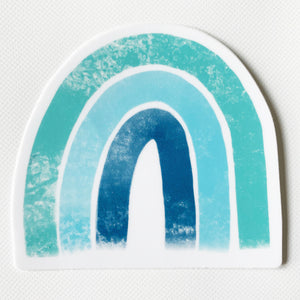 "Blue Rainbow Sticker  3"" x 3"""