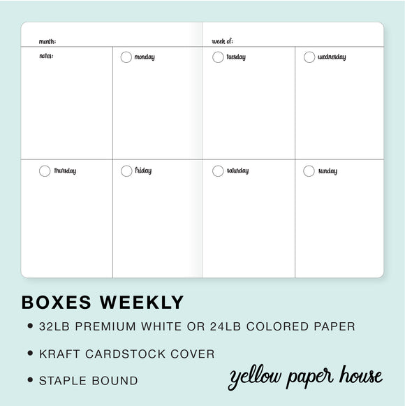 TRAVELERS NOTEBOOK INSERT - BOXES WEEKLY
